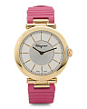 Women's Swiss Made Textured Leather Strap Watch