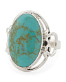 Made In Mexico Sterling Silver Turquoise Abstract Ring