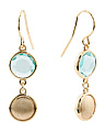 Made In Italy Gold Plated Silver Stone Satin Disc Earrings