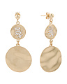 Made In Italy Gold Plated Sterling Silver Hammered Disc Earrings