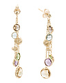 Made In Italy 14k Gold Multi Gemstone 3 Row Earrings
