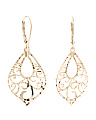 Made In Italy 14k Gold Laser Cut Marquis Earrings