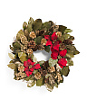 Red Poinsettia Gold Wreath
