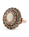 Made In Italy Rose Gold Plated Bronze Mother Of Pearl Ring