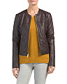Zip Front Collarless Leather Jacket