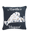 20x20 Martha Vineyard Map Pillow