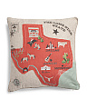 Embroidered Texas Map Pillow