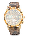 Women's Swiss Made Diamond And Gemstone Leather Strap Watch