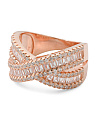 Rose Gold Plated Sterling Silver CZ Bypass Baguette Ring