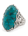 Made In Thailand Turquoise Filigree Ring