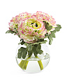 Faux Ranunculus In Glass Vase