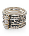 Made In Thailand Sterling Silver And 14k Gold Pearl Stack Rings