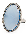 Made In India Sterling Silver Blue Chalcedony And Cubic Zirconia Ring