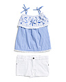 2pc Toddler Tank And Denim Shorts Set