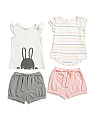 Baby Girls 4pc Knit Bunny Mix & Match Short Set