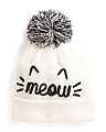 Meow Cuff Hat With Pom Pom