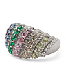Sterling Silver Multi Color Cz Statement Ring