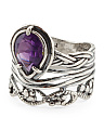 Made In Israel Sterling Silver Amethyst Pear Shaped Ring