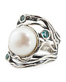 Made In Israel Sterling Silver Pearl And Apatite Ring