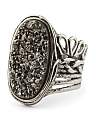 Made In Israel Sterling Silver Platinum Drusy Quartz Ring