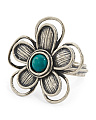Made In Israel Sterling Silver Turquoise Flower Ring