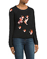 Embroidered Bird Ribbed Sweater
