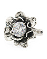 Made In Israel Sterling Silver Cz Ruffle Flower Ring
