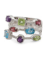 Made In India Sterling Silver Multi Gemstone 3 Row Ring