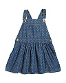 Toddler Girls Polka Dot Denim Overall Dress