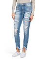 Juniors High Rise Uneven Hem Jeans