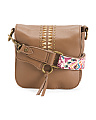 Leather Crossbody With Fabric Accent