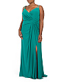 Plus Beaded Strap Draped Long Dress