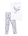 Girls 2pc Butterfly Ruffle Sleeve Legging Set