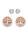 Rose Gold Plated Sterling Silver Tree Of Life Earring Set