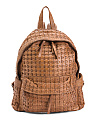 Made In Italy Leather Woven Backpack