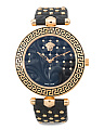 Women's Swiss Made Vanitas Embellished Leather Strap Watch