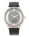 Men's Transparent Dial Leather Strap Watch