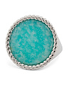 Made In Italy 950 Sterling Silver Amazonite Ring