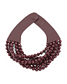 Made In Italy Leather Bella 8 Row Beaded Collar Necklace