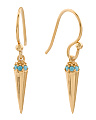 Made In India 18k Gold Plated Sterling Silver Turquoise Earrings