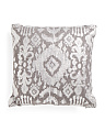 Made In India 20x20 Textured Foil Print Ikat Pillow
