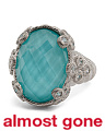 Made In Thailand Sterling Silver Turquoise Doublet Cubic Zirconia Ring