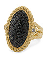 Made In Thailand Sterling Silver Black Spinel Pave Ring