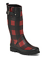 High Shaft Buffalo Plaid Rain Boots