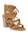 Lace Up Lazer Cut Nubuck Leather Sandals