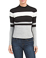Petite Striped Mock Neck Top