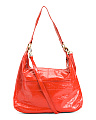 Stitch Front Leather Hobo