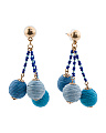 Handmade Thread Wrapped Shades Of Blue Ball Drop Earrings
