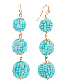 Handmade Beaded 3 Tier Ball Earrings