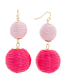 Handmade Thread Wrapped 2 Tier Ombre Ball Earrings